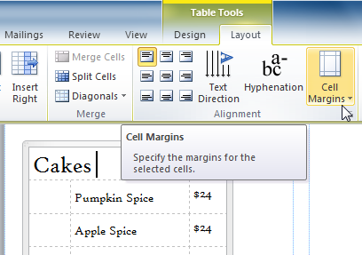 The Cell Margins drop-down command