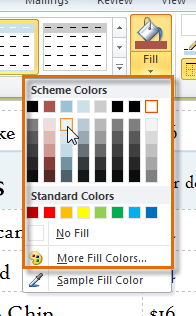Fill color options