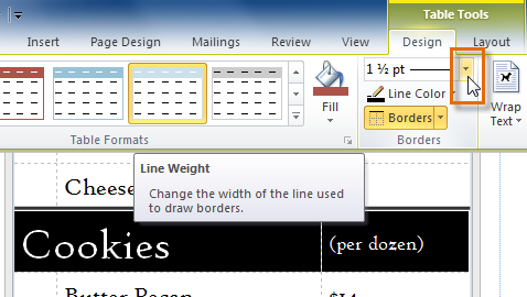 The Line Weight drop-down arrow