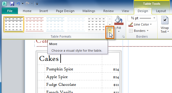 The More Table Styles drop-down arrow