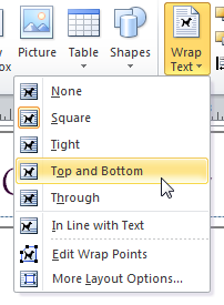 Text wrapping options