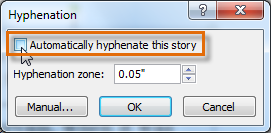 Choosing not to automatically hyphenate the text