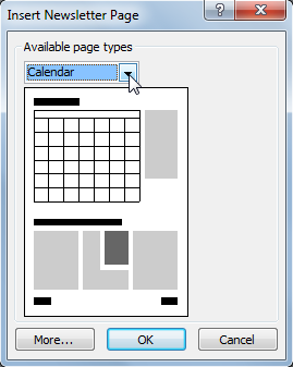 This Insert Page dialog box includes layout options