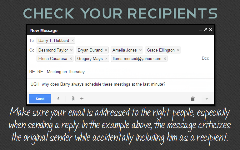 Make sure your email is addressed to the right people, especially when sending a reply. In the example above, the message criticizes the original sender while accidentally including him as a recipient.