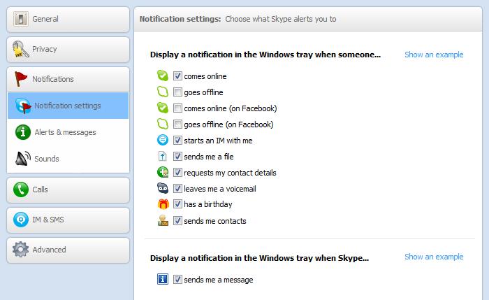 Choosing notifications