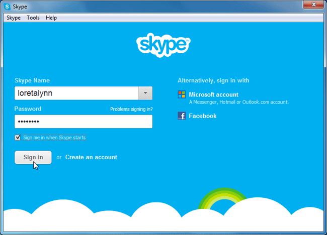 Screenshot of Skype