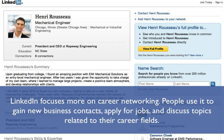 LinkedIn focuses on career networking