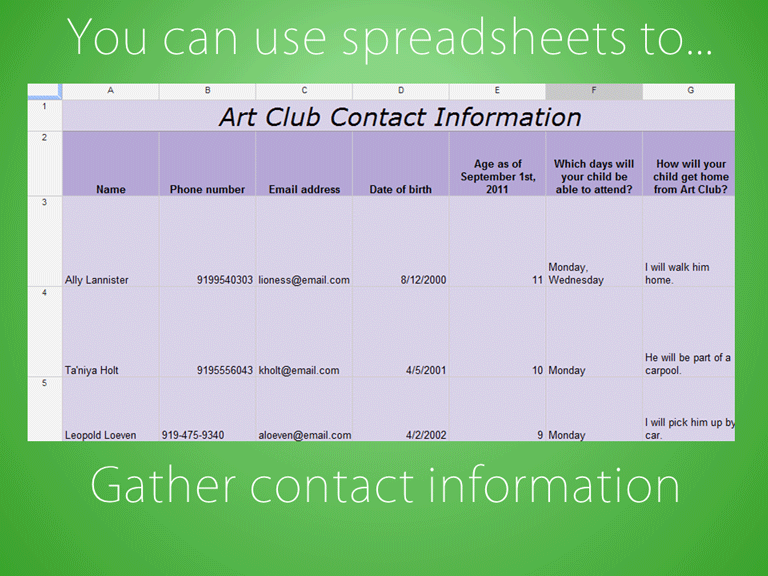 slide 3 - you can gather contact information