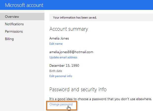Screenshot of Microsoft account