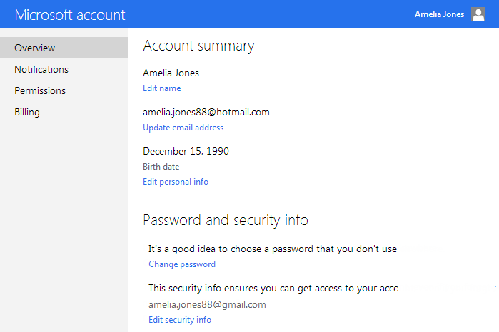 Screenshot of Microsoft Account