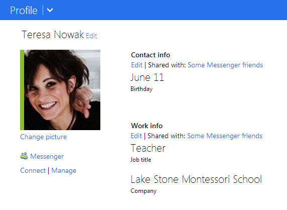 Screenshot of Microsoft Profile