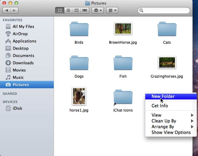 Right-clicking to create a new folder