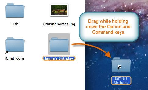 Creating a shortcut on the desktop