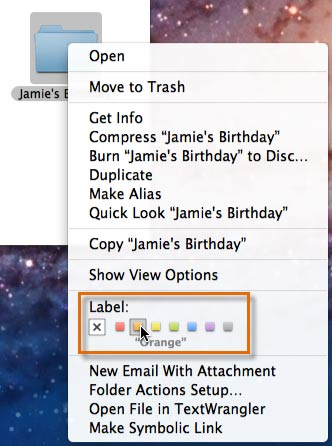 Choosing a folder color