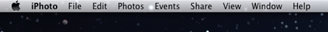 The menu bar, while using iPhoto