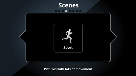 Selecting a scene mode on an Android phone