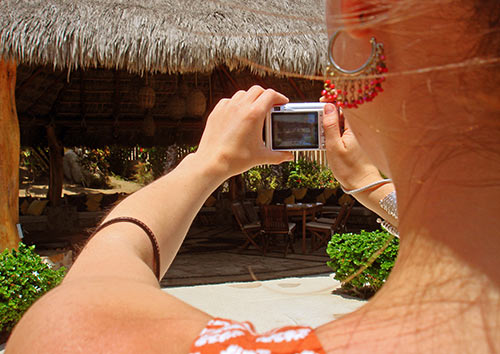 Taking a photo with a digital camera