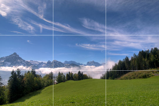 Using the rule of thirds to compose the photo