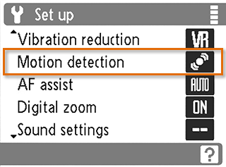 Selecting the motion detection option