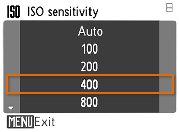 Manually raising the ISO number