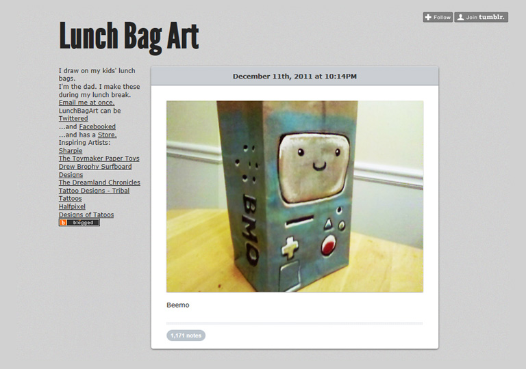 Screenshot of a lifestyle blog