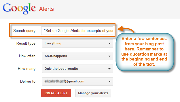Setting up a Google Alert for a blog post