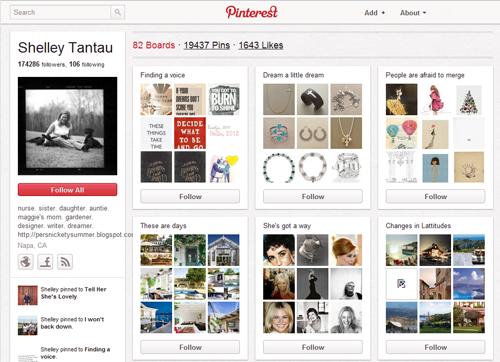 A Pinterest pinboard