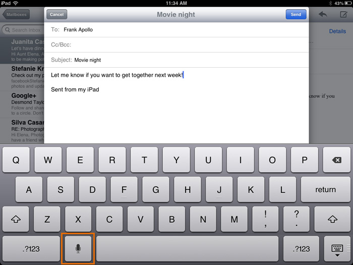 Voice dictation in Mail