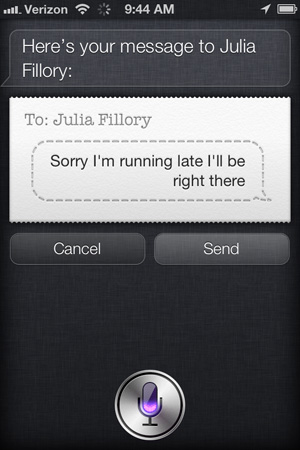 Using Siri to send a text