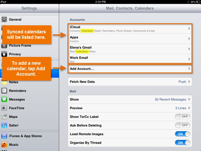 Managing synced calendars