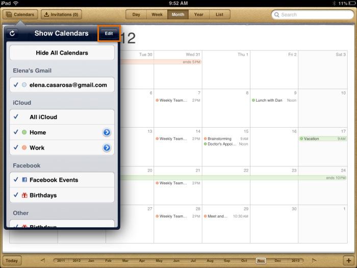 Managing your calendars