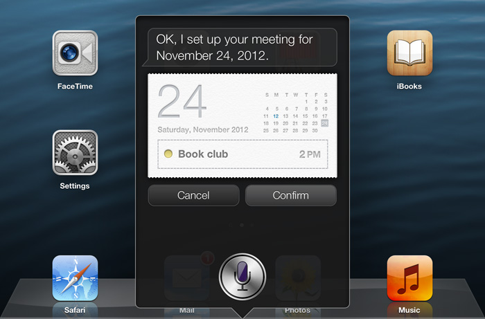Using Siri to create a calendar event