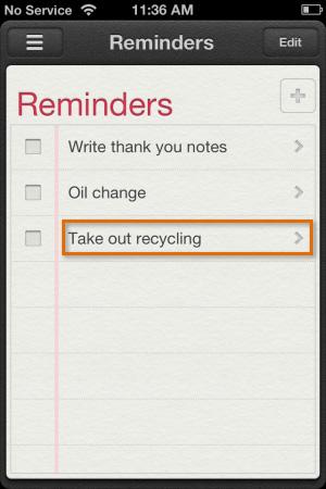 Editing a reminder