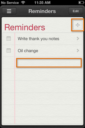 Creating a new reminder