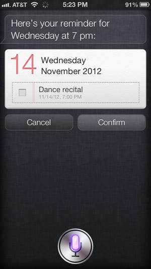 Using Siri to create a reminder