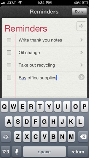 Voice dictation in Reminders