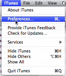 Going to the iTunes preferences