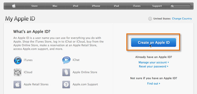 The Apple ID page