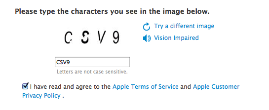 The verification image and Terms of Service check box