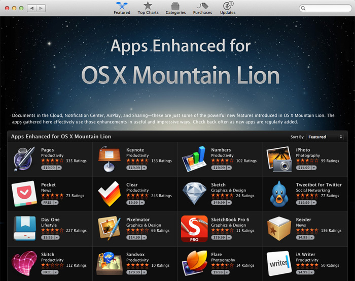 Apps for OS X Mountain Lion
