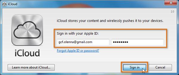 Screenshot of Apple iCloud