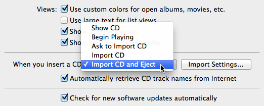 Selecting your import settings