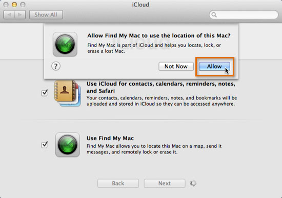 Selecting the desired iCloud features