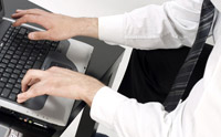 Stock photo of person performing keyboard shortcuts