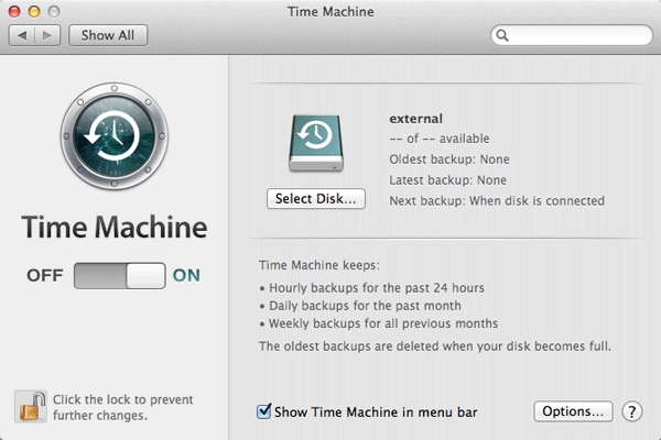 Screenshot of Time Machine for Mac OSX