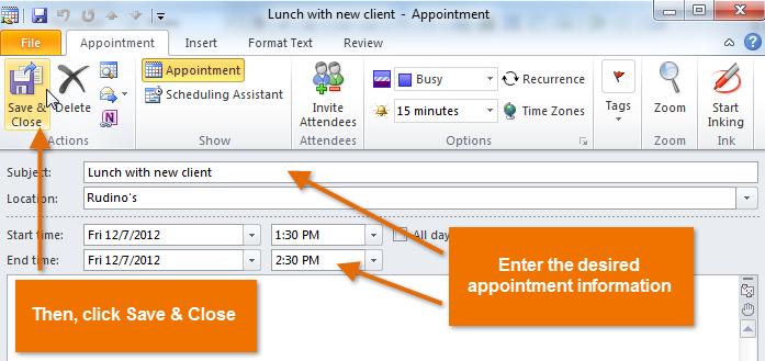 Screenshot of Microsoft Outlook 2010