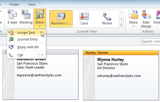 Screenshot of Microsoft Outlook 2010