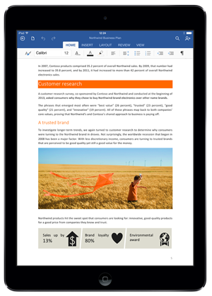 Screenshot of Office for iPad