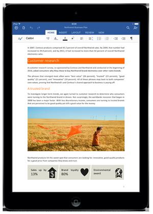Screenshot of Office for iPad