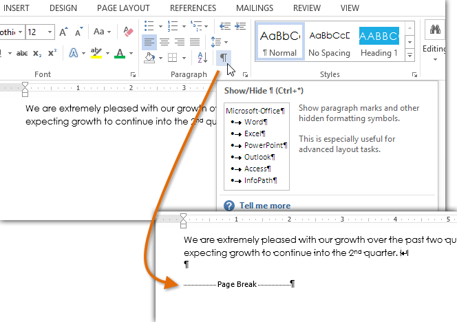 Screenshot of Word 2013